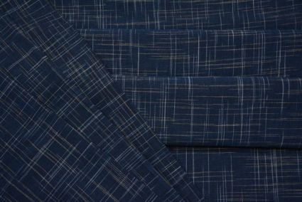 BLUE AND WHITE HANDWOVEN COTTON FABRIC-HF2127