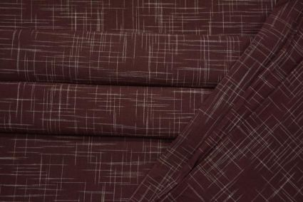 Brown And White Handwoven Cotton Fabric