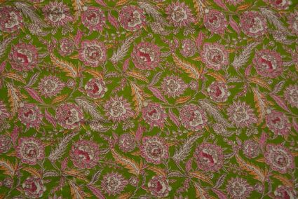 Green And Pink Polyester Satin Fabric