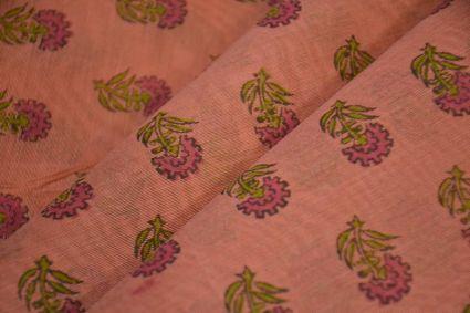 Canyon Pink Block Printed Chanderi Fabric