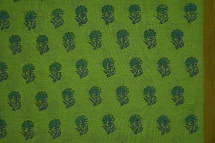 Forest Green Block Printed Chanderi Fabric