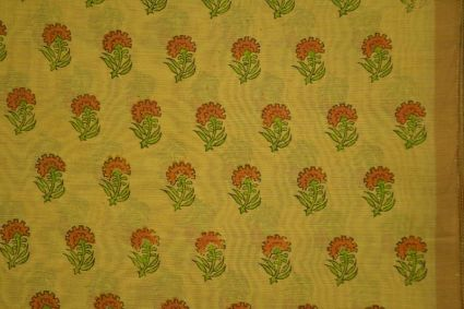 Bamboo Gold Block Printed Chanderi Fabric