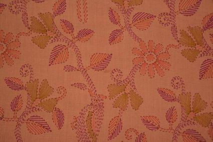 Peach Bud Floral Kantha Stitch  Print Rayon Fabric