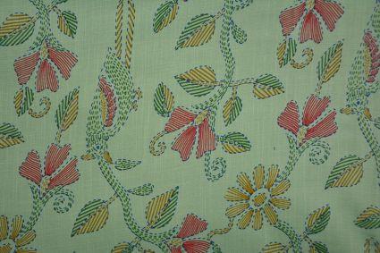 Holiday Green  Floral Kantha Stitch  Print Rayon Fabric