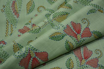 HOLIDAY GREEN  FLORAL KANTHA STITCH  PRINT RAYON FABRIC-HF4217