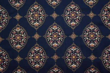 Navy Blue Floral Print Rayon Fabric