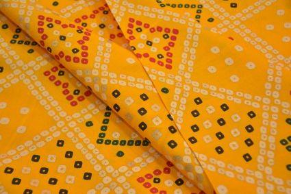 Daffodil Yellow Bandhej Print Rayon Fabric