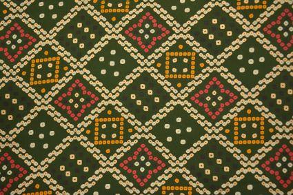 Chive Green Bandhej Print Rayon Fabric