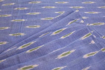BLUE COLOR FINE MERCERIZED IKAT FABRIC-HF1067