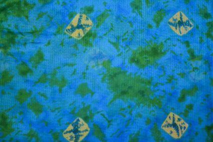 Blue Green Printed Kota Doria Fabric