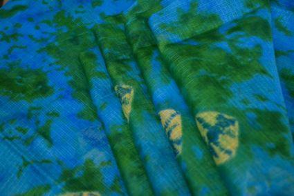 BLUE GREEN PRINTED KOTA DORIA FABRIC-HF1128