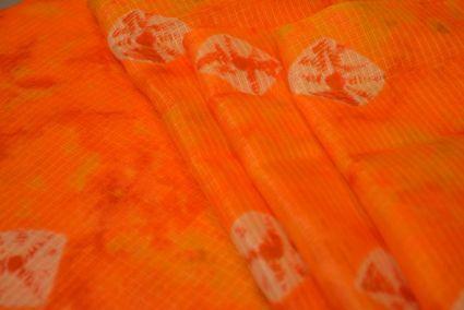 Orange Printed Kota Doria Fabric