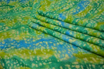 GREEN BLUE PRINTED KOTA DORIA FABRIC-HF1137