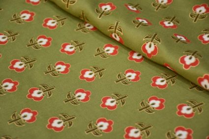 OLIVE GREEN FLORAL GLACE COTTON FABRIC-HF4347