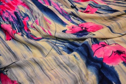 PINK FLORAL BRUSH FINE RAYON FABRIC-RF11