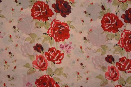 Creamish Pink Floral Digital Print Pure Crepe Fabric
