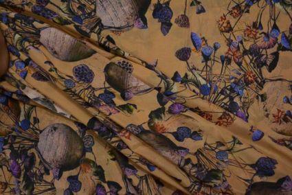 Latte Brown Digital Print Pure Crepe Fabric