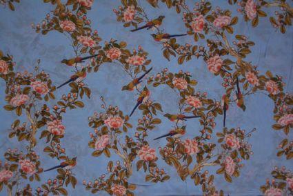Dusty Blue Floral Digital Print Pure Crepe Fabric