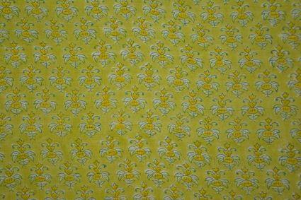 Green Floral Block Print Modal Silk Fabric