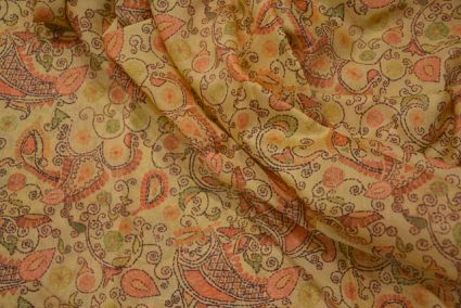 Straw Yellow Stitch Printed Chanderi Silk Fabric