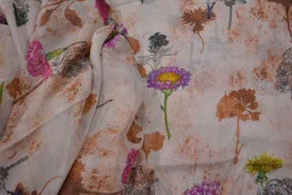 Crystal Clear Floral Printed Chiffon Fabric By The Yard