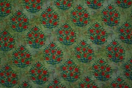 Spruce Green Floral Printed Chiffon Fabric By The Yard