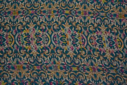 Teal Blue Floral Digital Print Pure Crepe Fabric