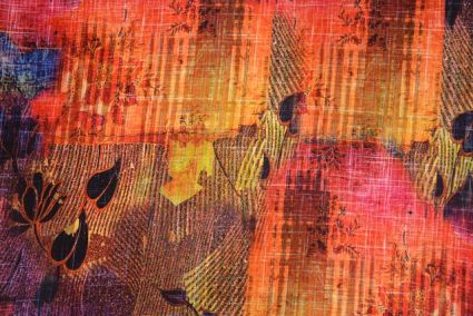 Multicolor Abstract Digital Print Crepe Fabric