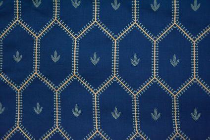 Navy Blue And Gold Hexagon Print Slub Rayon Fabric