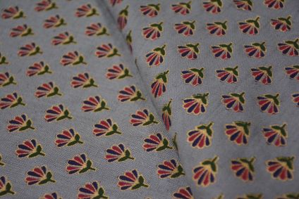 GREY AND GOLDEN FLORAL PRINT FLAX COTTON FABRIC-HF4464
