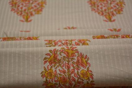 FLORAL PRINT STRIPED COTTON FABRIC-HF4461
