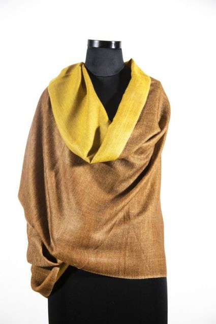 REVERSIBLE MUSTARD BROWN PASHMINAS WHOLESALE SCARVES FROM INDIA