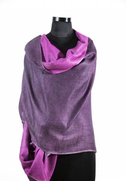 DOUBLE SIDED PURPLE PASHMINA SCARF FROM INDIA
