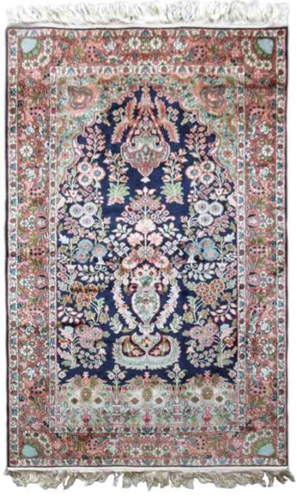 GARDEN OF KASHMIR PURE SILK AREA RUG FROM INDIA
