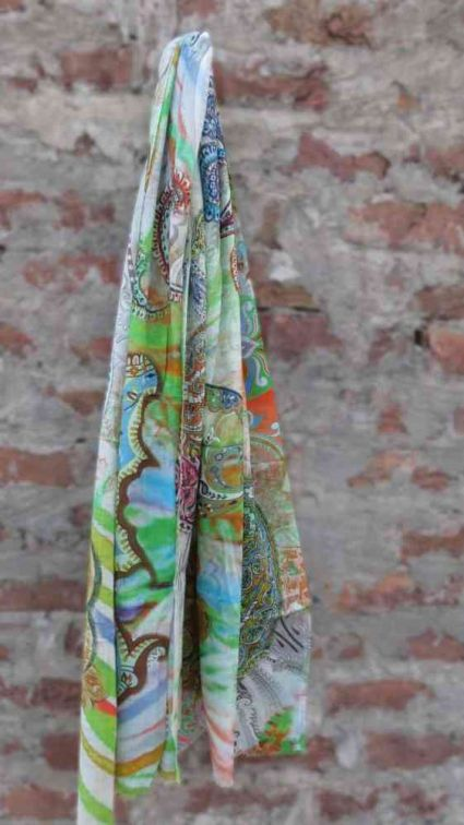 GREEN PAISLEY FASHION SCARVES FOR WOMEN MADE IN INDIA