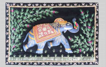 HAND EMBROIDERED ELEPHANT INDIAN WALL HANGINGS SUPPLIER