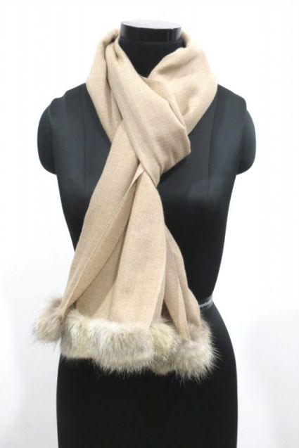 JUST NATURAL FUR CASHMERE WOOL SCARF