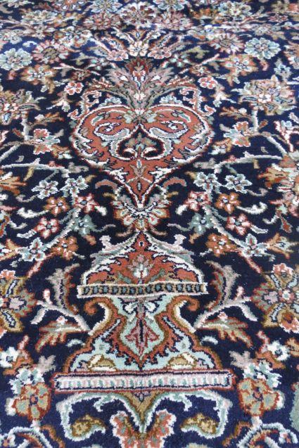 Blue  Persian Design Handmade Silk Rug