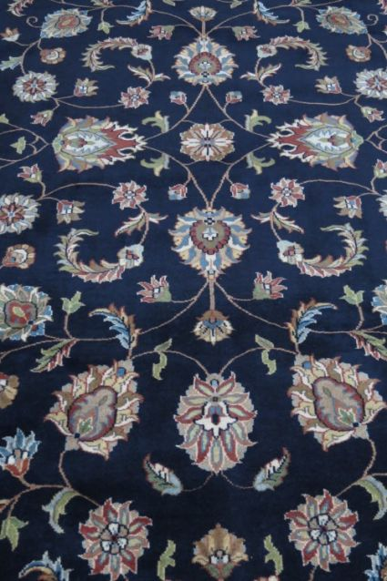 Red Bordered Blue Hand Knotted Wool Rugs