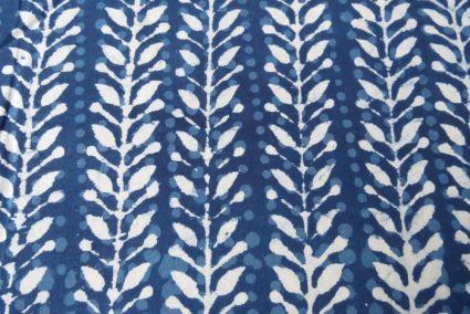 Indigo And White Leaf Block Print Fabric