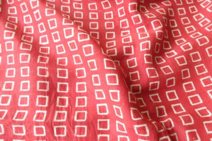 Red And White Cotton Silk Fabric By The Yard
