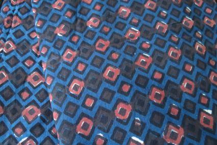 BLUE DIAMONDS BAGRU COTTON FABRIC-HF827