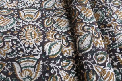 BLACK AND BROWN UPHOLSTERY KHADI COTTON FABRIC-UF25