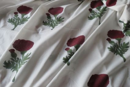 WHITE AND DARK RED FLORAL BLOCK PRINT COTTON FABRIC-HF899
