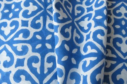BLUE AND WHITE UPHOLSTERY COTTON FABRIC-UF27