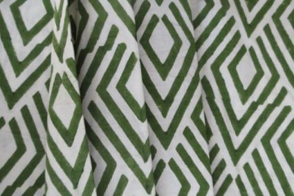 WHITE AND GREEN UPHOLSTERY COTTON FABRIC-UF28