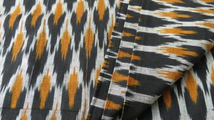 BLACK AND MUSTARD IKAT FABRIC BY THE YARD-HF1001