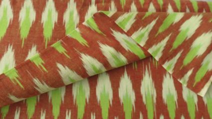 GREEN AND BROWN IKAT FABRIC BY THE YARD-HF1002
