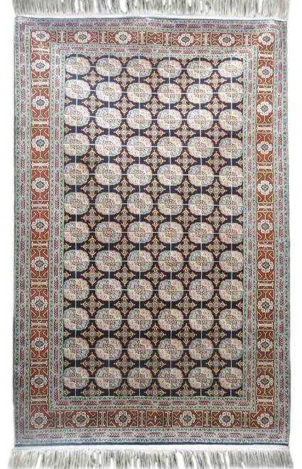 KASHMIR PURE SILK BLUE TRIBAL RUG FROM INDIA