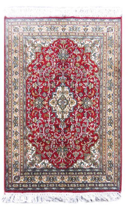 KASHMIR PURE SILK RED PERSIAN CARPET FROM INDIA